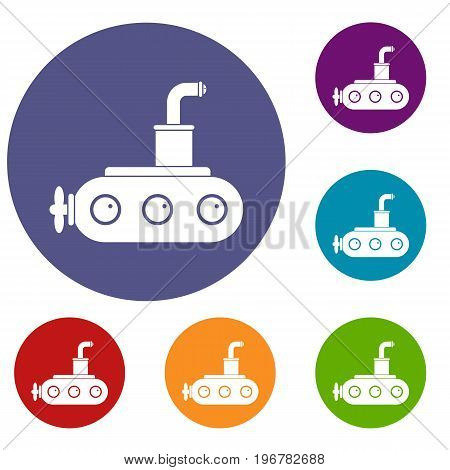 Submarine icons set in flat circle red, blue and green color for web