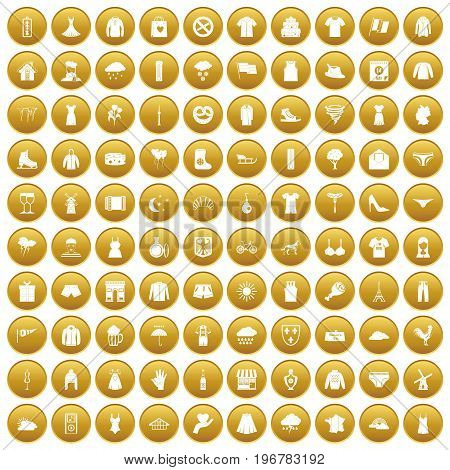 100 clothing icons set in gold circle isolated on white vector illustration