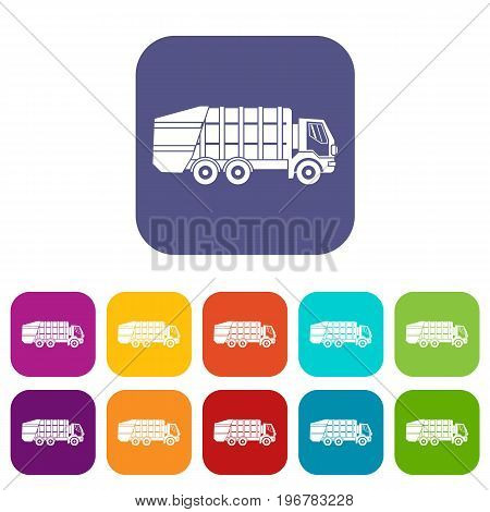 Garbage truck icons set vector illustration in flat style in colors red, blue, green, and other
