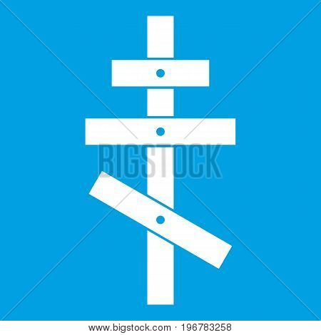 Orthodox cross icon white isolated on blue background vector illustration