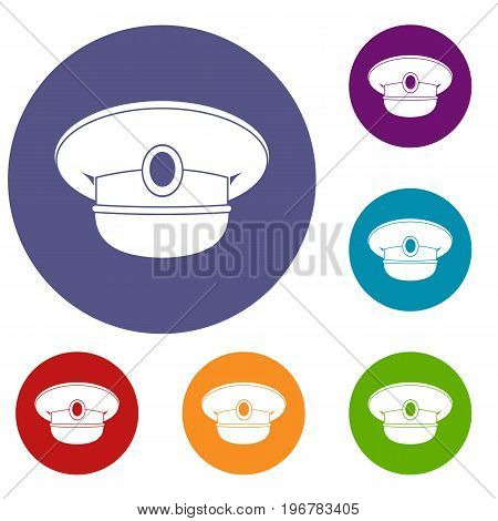 White nautical hat icons set in flat circle red, blue and green color for web