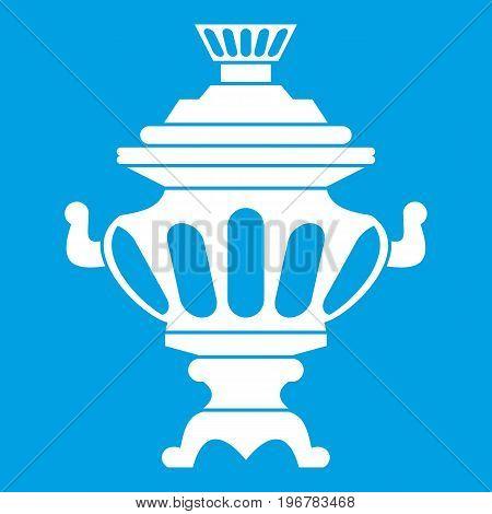 Russian tea samovar icon white isolated on blue background vector illustration