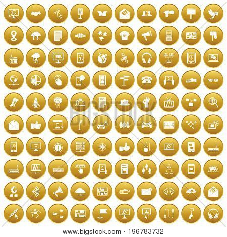 100 communication icons set in gold circle isolated on white vector illustration