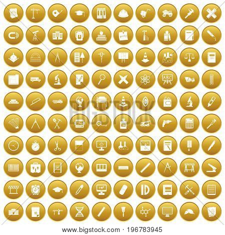 100 compass icons set in gold circle isolated on white vector illustration