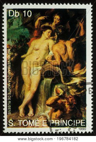 Moscow Russia - July 23 2017: A stamp printed in Sao Tome and Principe shows painting The Union of Earth and Water by Rubens series