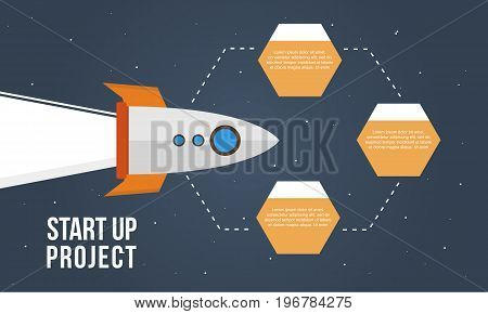 Start up project business infographic step collection vector art