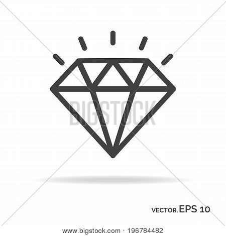 Brilliant outline icon black color isolated on white background