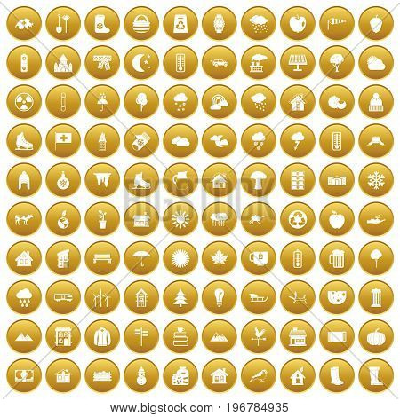 100 country house icons set in gold circle isolated on white vector illustration