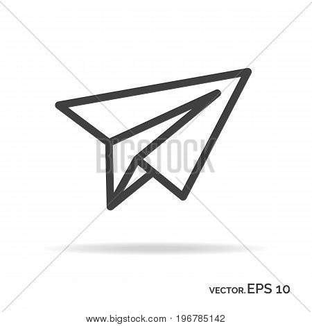 Paper plane outline icon black color isolated on white background