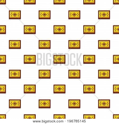 Yellow and brown Turkish carpet pattern seamless repeat in cartoon style vector illustration