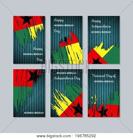 Guinea-bissau Patriotic Cards For National Day. Expressive Brush Stroke In National Flag Colors On D