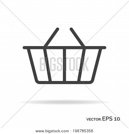 Shopping basket outline icon black color isolated on white background