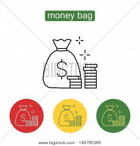 Stacks of coins and money bag. Money saving and money bag icon design. Stack of coins icon thin line for web and mobile, modern minimalistic design. American dollars modern design isolated. Vector