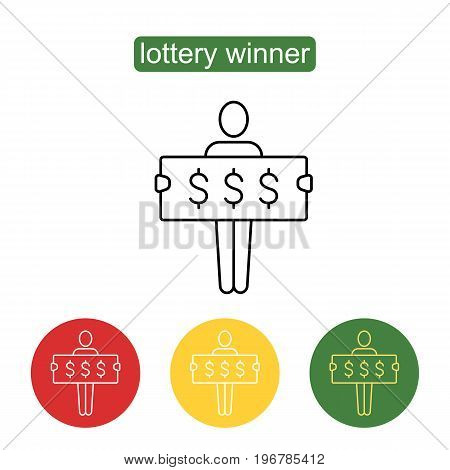Lottery winner line icon. A man has won the lottery. Money and business, finance success rich, lottery and award, vector. Outline illustration of lottery concept for web design. Editable stroke.