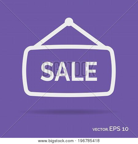 Sale banner outline icon white color isolated on purple background