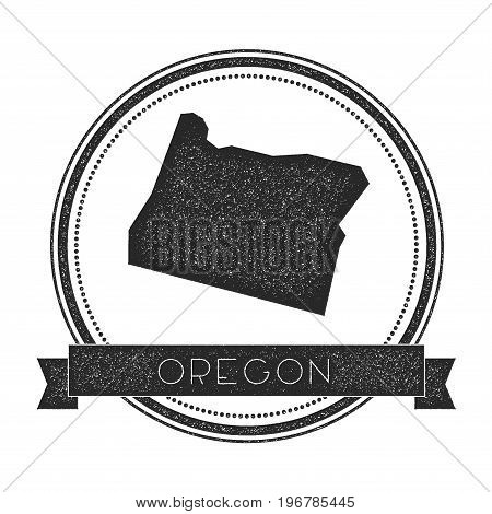 Oregon Vector Map Stamp. Retro Distressed Insignia With Us State Map. Hipster Round Rubber Stamp Wit