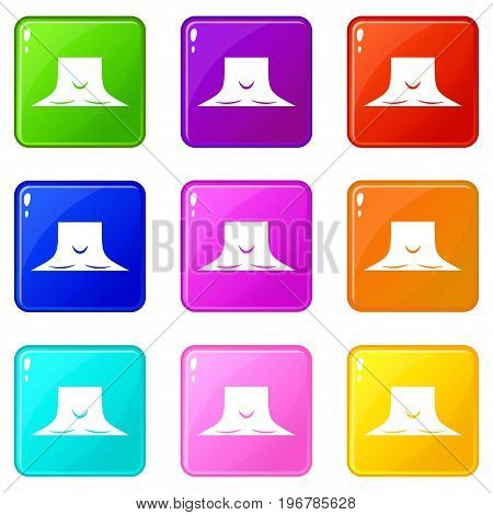 Human neck icons of 9 color set isolated vector illustration