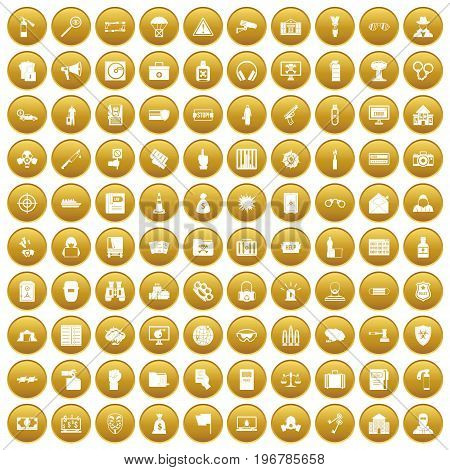 100 crime icons set in gold circle isolated on white vector illustration