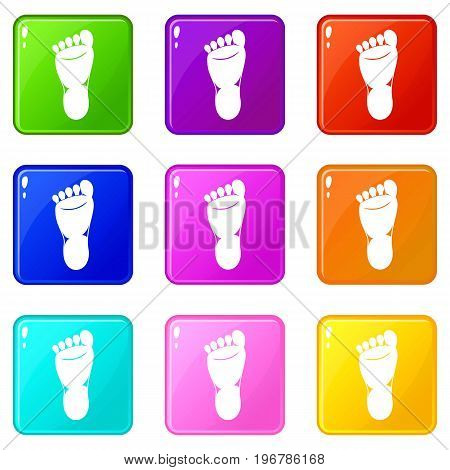 Foot left leg icons of 9 color set isolated vector illustration