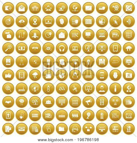 100 cyber security icons set in gold circle isolated on white vector illustration