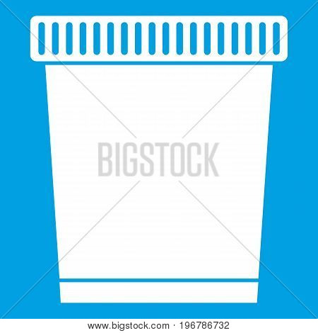Trash can icon white isolated on blue background vector illustration