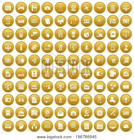 100 database icons set in gold circle isolated on white vector illustration