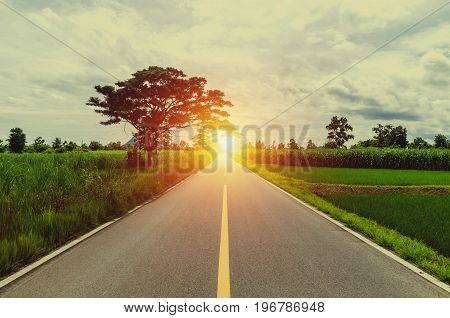 Empty road with sunset in country site