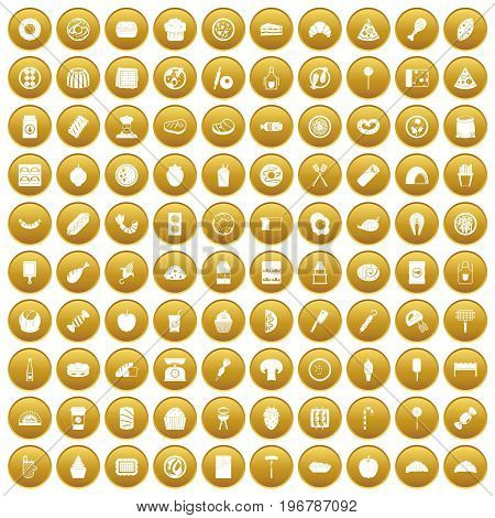100 delicious dishes icons set in gold circle isolated on white vector illustration
