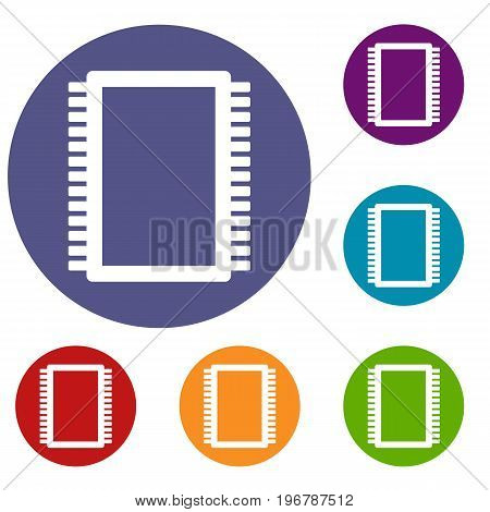 Computer electronic circuit board icons set in flat circle red, blue and green color for web