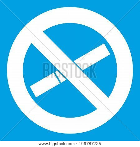 No smoking sign icon white isolated on blue background vector illustration