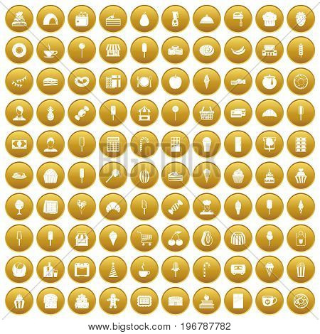 100 dessert icons set in gold circle isolated on white vector illustration