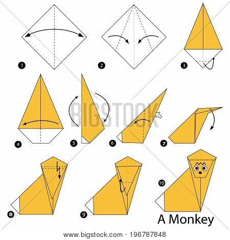 step by step instructions how to make origami A Monkey