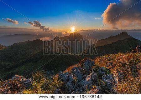 The beautiful sky over the mountain at (Doi-Laung), Chiang-Dao, Chiang Mai,Thailand