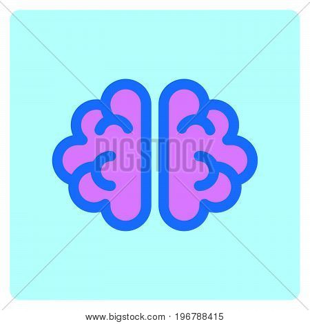 Simple flat art  color brain icon vector