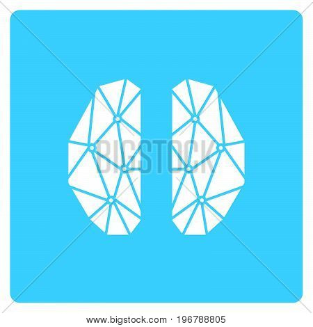 Simple flat color art  brain icon vector