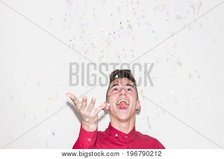 Head And Shoulders Shot, Throwing Confetti, White Background, One Caucasian Teenager Portrait, Studi