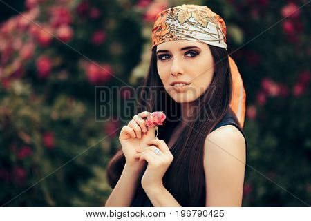 Fashion Woman Wearing Head Scarf in 70's Retro Style Outfit