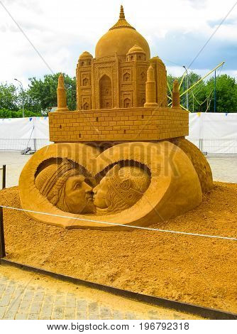 KOLOMENSKOYE MOSCOW RUSSIA - MAY 25 2009: World Championship of Sand Sculpture
