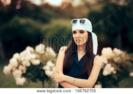 Fashion Woman Wearing Head Scarf and Retro Sunglasses 70's Style