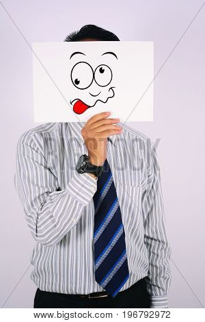 young Businessman Wearing mad Face Mask isolated on white