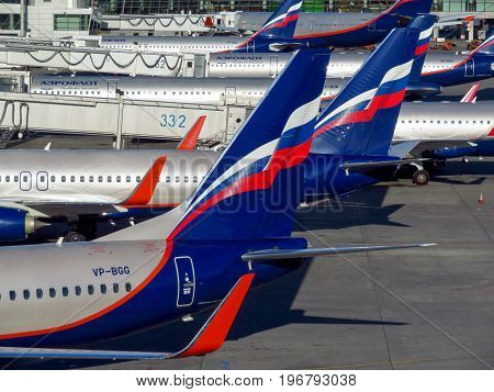 Moscow Russia - June 28 2017: A row of airplanes owned by Aeroflot in the Sheremetyevo airport. Sheremetyevo International is a second biggest airport in Moscow