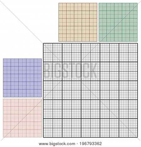 Set of industrial sheets of paper for technical drawing - graph paper