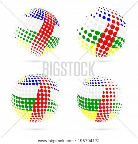 Car Halftone Flag Set Patriotic Vector Design. 3D Halftone Sphere In Car National Flag Colors Isolat