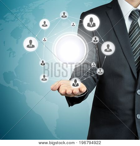 Hand carrying businesspeople icon network with blank circle in the middle that can put your texts or pictures