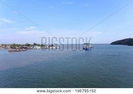 River estuary of Chanthaburi province in ThailandDaytime view sea of nature outdoor of Landscape and blue sky background.