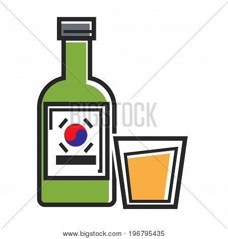 Korean drink in green bottle with flag on bottle and transparent cup isolated vector illustration on white background. Orange delicious sweet beverage in glass. Fresh cool tasty refreshment.