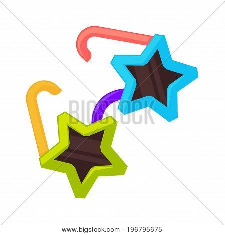 Vector illustration of star shaped colorful sunglasses isolated on white.