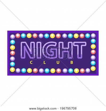 Vector illustration of purple night club logo with colorful illumination.