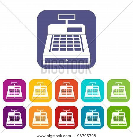 Cash register icons set vector illustration in flat style in colors red, blue, green, and other