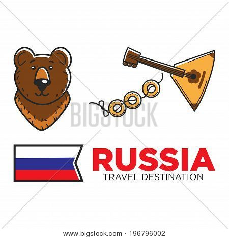 Russia travel and culture symbols or tourist attraction landmarks. Vector icons of Russian flag, traditional balalaika guitar or bagels buns and bear for USSR Soviet Union nostalgia icons